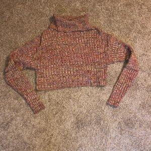 Forever21 Multicolor Knit Turtleneck Crop Sweater